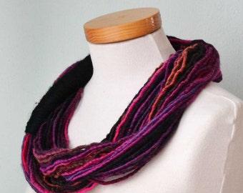 Infinity loop scarf. Black, pink and reds  G659