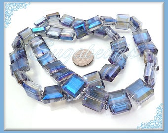 10 Blue Faceted Square Crystal Beads 13mm