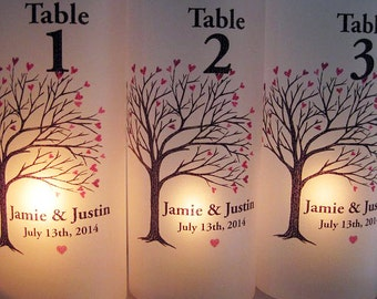 Personalized Wedding Table Numbers Heart Tree, Custom Wedding Luminaries