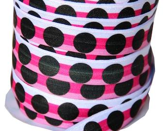 Designer 5 Yards 5/8 Print Fold Over Elastics FOE - Cosmo black dippy dots