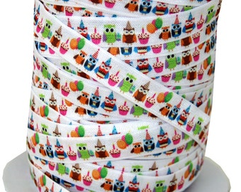 "Designer 5/8"" Birthday Owls Print Fold Over Elastics FOE - 5 Yards"