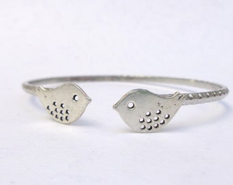 silver bird bracelet wrap style