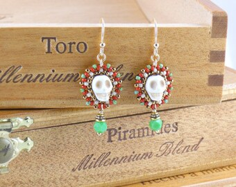 Beaded Small Calavera Earrings/ Beige Skulls/ Spring Green Vintage English Cut Beads/ Gold-Filled Earwires/ Festive/ Salsa Red - - - Adelina