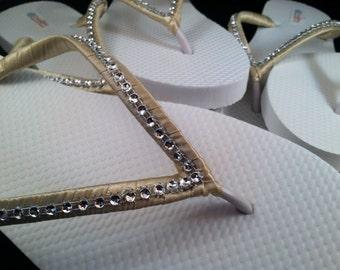 So Sweet Bride Vanessa Bling Bridal Wedding Flip Flops