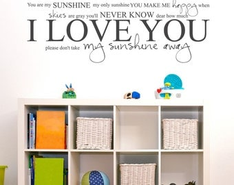 You Are My Sunshine My Only Sunshine Sticky LARGE - Nursery or Bedroom Ideas Decor - Vinyl Wall Accent Art Words Stickers Decals 1694