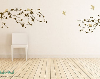 2 Large Cherry Blossom Branch 8 Birds - Vinyl Lettering - Home Decor - Wall Decals - Vinyl Wall Art Graphics Decals Stickers 1720