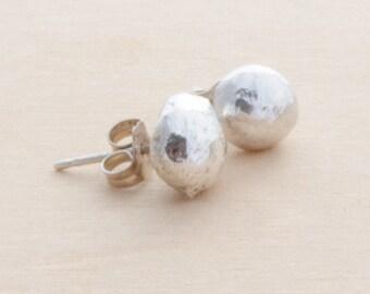 Recycled silver stud earrings