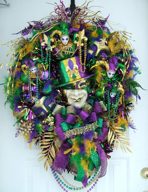 Sale today free shipping mardi gras wreath by wreathsbykimberly