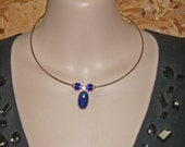Blue Dichroic Glass Necklace - Dichroic Glass & Sterling Silver NeckRing Necklace