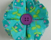 SALE Turquoise Fabric Flower Clippie - No Slip Hair Bow Clip