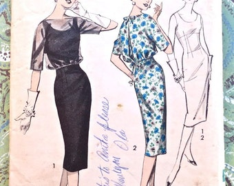 Vintage 1950s Womens Dress Pattern with Blouson Jacket - Advance 8895