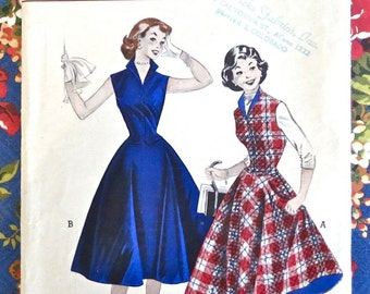 Vintage 1950s Teen Girls Dress Pattern - Two Piece with Skirt and Weskit Vest - Butterick 6719