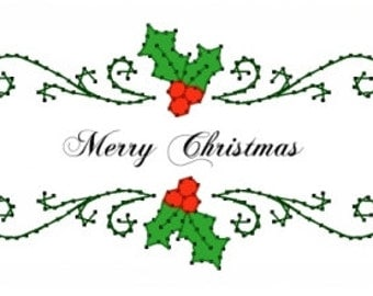 Holly Banner Christmas  Embroidery Pattern for Greeting Cards
