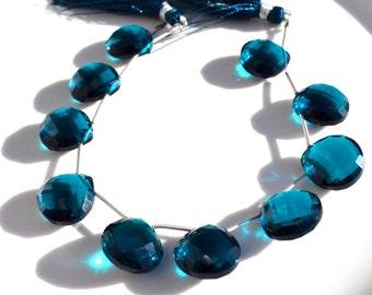 Gorgeous Peacock Blue Quartz Heart Briolette Bead  ONE