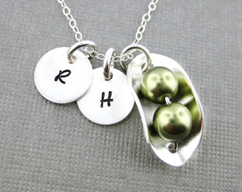 Two PEAS IN A POD Necklace with Two Initial Charms - Sterling silver and Swarovski Crystal Pearls (NP008)