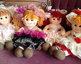 """Rag doll  Vintage Lace dressed 13"""" plush  Baby Doll, flower girl present, order matching dress, skirt, first baby doll, first birthday doll"""