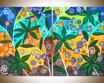 """Large Abstract painting set of 2 painting blue green yellow art Whimsical Painting Oil painting Wall Art wall hanging""""Fiesta"""" By qiqigallery"""