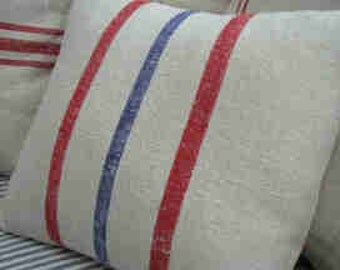 European Vintage Grainsack Pillow, Red Blue Stripes, French Cottage, Rustic, Shabby Chic, Beach Style