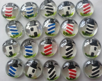 Hand painted glass gems party favors  LIGHTHOUSE LIGHTHOUSES