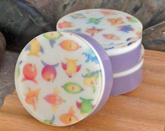 Graphic Art Soap - Fish Whimsy - Individual Guest Size Soaps in a Fresh Citirus Scent, Themed Glycerin Soap