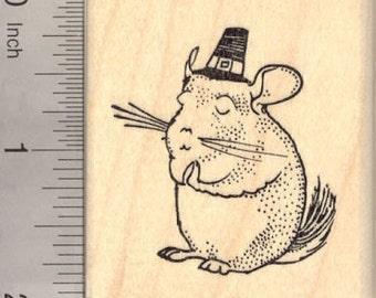 Thanksgiving Chinchilla Rubber Stamp, Praying or Giving Thanks G22712 Wood Mounted