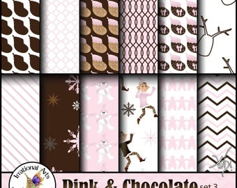 INSTANT DOWNLOAD Pink and Chocolate set 3 gorgeous Christmas patterns stockings Elves reindeer stripes snowmen snowflake chevron gingerbread