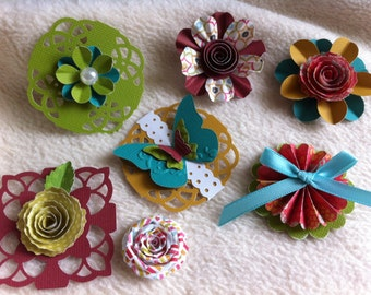 Homemade Embellishment Kit...7 Piece Set of Very Lovely Everyday Journalier Scrapbooking Embellishment Kit Set 2