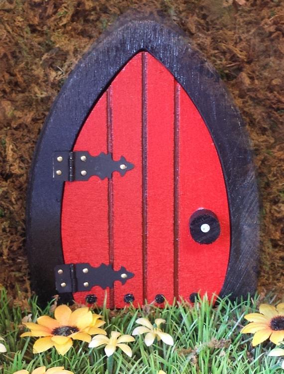 Red fairy door 6 5 inch that opens for Red elf door