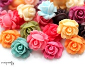 20pc assorted small rosebud resin flower cabochons, 13mm size is perfect for earrings and rings, choose your colors