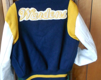 VINTAGE TEAM JACKET, Letterman coat, Wardens, wool, leather, lined, snaps, classic cool