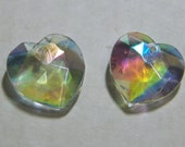 Vintage German Crystal AB Glass Heart Pendants Drops  - 17mm  (2)