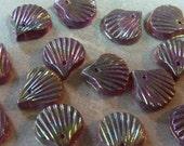 Vintage Purple Iris Glass Shell Beads (4)
