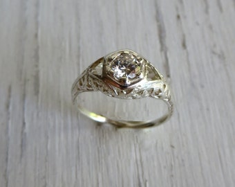 Art Deco Engagement Ring Estate Jewelry Filigree