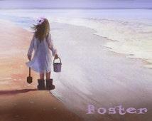 girl art print, beach combing, little girl, seascape painting, beach, daughter, ocean, sand, treasure hunting, driftwood, shells,
