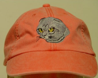 SCOTTISH FOLD Cat Hat - One Embroidered Men Women Cap - Price Embroidery Apparel - 24 Color Caps Available