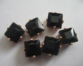 Lot of 6 6mm Jet Square Shaped W. German Rhinestones in Red Brass Sew on Settings