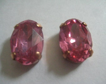 3 16x11mm Rose Oval Rhinestones in  Red Brass Sew on Settings