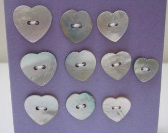 10 Mixed Heart Shell Buttons
