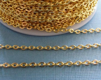 24 ft of  Bright Gold finished chain, gold over iron flat cross chain / necklace chain / jewelry chain / 3mmx2mm CHN801