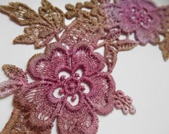 Hand Dyed Lace Motif Purple/Grean/Mauve