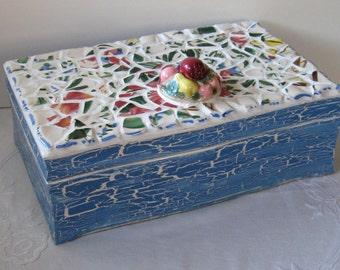 """Vintage Broken China Ceramic Shards Colorful """"Fruit Bowl"""" Pattern and """"Shabby Chic"""" Painted Box"""