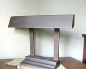Vintage bankers desk lamp - medium brown metal columns detail