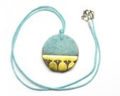 Ginkgo Round Necklace with light blue felt and brass - small