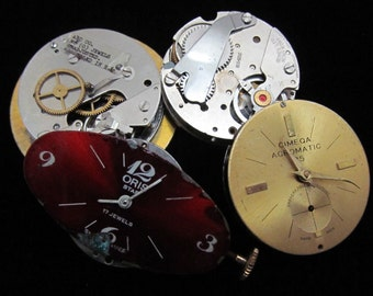 Vintage Antique Round Watch Movements With Faces Dials Industrial Steampunk Altered Art DI 27