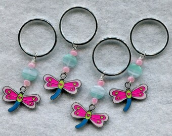 Dragonfly Knitting Stitch Markers Really BIG Rings for Bulky Knits Set of 4 /SM34