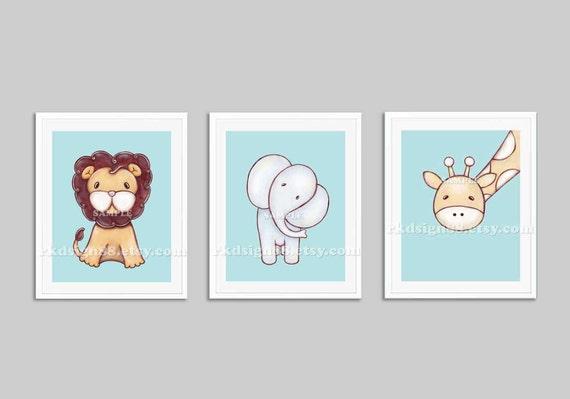 Lion art, baby nursery art print, baby boy nursery decor, jungle animals, safari nursery decor, kids decor, home decor, set