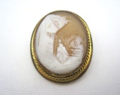 Antique Cameo Brooch - Carved Shell Rebecca at the Well, VintageInBloom