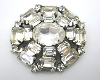 Vintage Rhinestone Brooch - Weiss Clear Stone 1950s Costume Jewelry Bridal