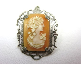 Bacchante Cameo Brooch - Carved Shell 1900s