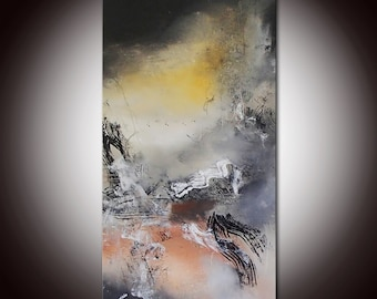 """abstract painting, Black and White Abstract Painting 36"""", Black abstract, Large abstract painting, Large Mixed Media, Original Painting"""